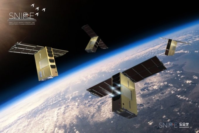 국내 첫 우주환경관측용 저궤도 초소형군집위성 '스나이프'(SNIPE, 한글명 도요샛)의 가상도/자료=천문연 /