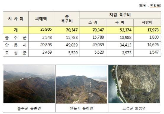 울주. 안동, 고성지역별 산불피해지역 현황 및 복구계획./자료제공=산림청