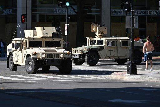1일(현지시간) 워싱턴D.C 시위에 동원된 군대 차량/사진=AFP