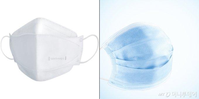 비말차단용 마스크. 왼쪽은 KF마스크 모양인 입체형, 오른쪽은 수술용 마스크 모양인 평판형/사진제공=웰킵스