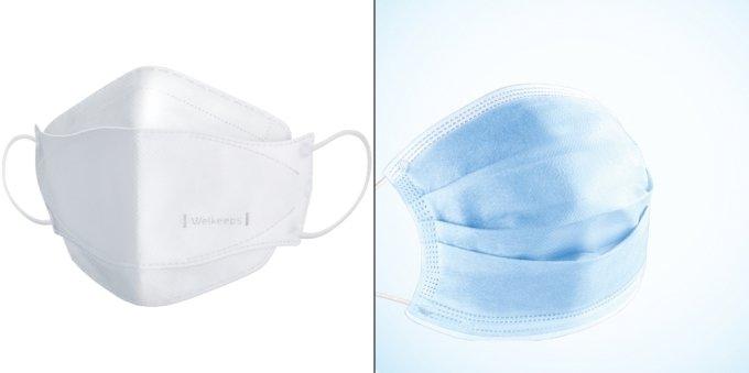 비말차단용 마스크. 왼쪽은 KF마스크 모양인 입체형, 오른쪽은 수술용 마스크 모양인 평판형/사진제공=웰킵스/사진제공=웰킵스
