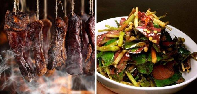 오랜 시간 말리는 고기요리 '라로우(왼쪽)'과 어성초 무침(오른쪽) / 사진 = 바이두