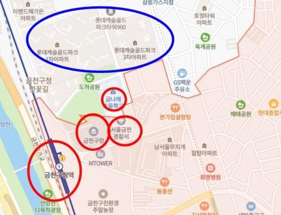 서울시 금천구 금천구청역 인근 지도 /사진=네이버 지도