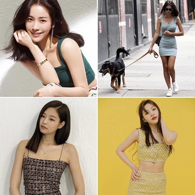 /사진=배우 한지민, 에밀리 라타이코프스키, 블랙핑크 제니, 레드벨벳 조이 인스타그램