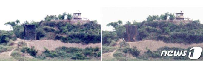 (강화=뉴스1) 박지혜 기자 = 23일 오전 인천광역시 강화군에서 바라본 북한 황해도 봉화산에 대남 확성기가 설치돼 있다. 잠시 뒤(사진 오른쪽) 북한 군인들이 나와 확성기를 방수포로 보이는 덮개로 가리고 있다. 통일부는 이날 북한의 대남삐라 살포와 대남확성기 방송 재개 움직임을 '비생산적인 적대행위'로 규정하며 속히 중단해야 한다고 밝혔다. 2020.6.23/뉴스1