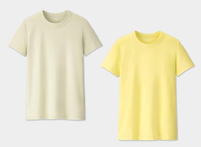 유니클로 U 크루넥 반팔 티셔츠 라이트 그린, 옐로/사진제공=유니클로