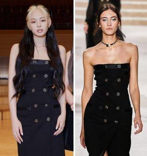 블랙핑크 제니, 독특한 염색+튜브톱 드레스…