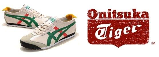 아식스의 프리미엄 브랜드 '오니츠카 타이거'의 운동화와 로고