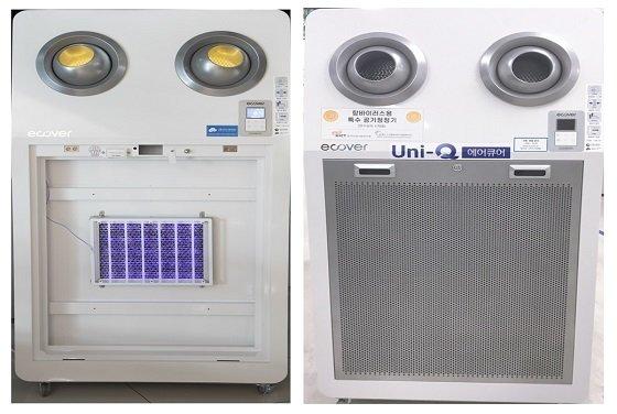 한국건설기술연구원에서 개�P한 항균항바이러스 공조필터를 장착한 공기청정기/사진=건설연