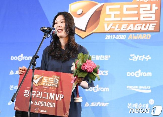 지난 시즌 MVP를 수상한 양효진.  /사진=뉴스1