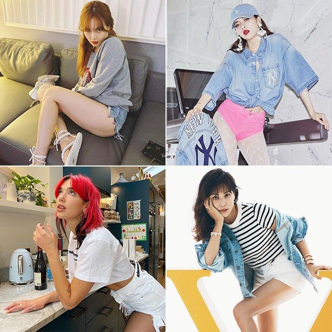 (왼쪽부터 시계 방향으로)가수 현아, 배우 고소영, 가수 두아 리파/사진=현아 인스타그램, MLB, 불가리, 두아 리파 인스타그램