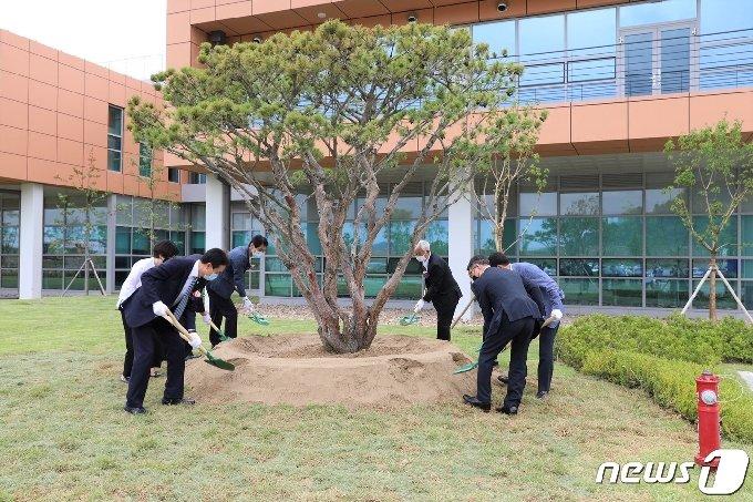 산림청 산하 공공기관인 한국수목원관리원은 국립세종수목원 개청 행사를 가졌다. 사진은 기념 식수 모습.© 뉴스1