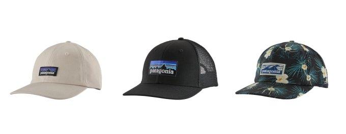 (왼쪽부터) P-6 레이블 트래드 캡, P-6 로고 트러커 햇, 보드숏 레이블 펀페어러 캡 /사진제공=파타고니아