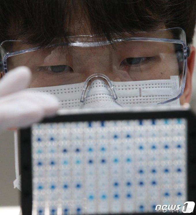 (대전=뉴스1) 김기태 기자 = 2일 오후 대전 유성구 한국생명공학연구원 바이오나노헬스가드연구단에서 연구원들이 코로나19 항체면역 진단키트를 시연하고 있다.코로나19 항체면역 진단키트는 임상 실험한 결과 코로나 감염자 대비 양성판정을 나타내는 민감도와 비감염자 대비 음성판정 정확도를 나타내는 특이도가 각 94.4%, 100%로 나타났으며 진단 시간은 15분이 소요된다. 과학기술정보통신부는 임상테스트를 바탕으로 미국 FDA의 긴급사용승인 절차를 진행하고 있다. 2020.6.2/뉴스1