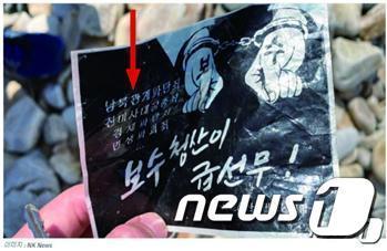 최근 서해 연평도에서 발견된 대남 전단(삐라) 중 일부. 화살표로 표시된 서체가 '태나무체'다. (미국 NK뉴스 갈무리)© 뉴스1