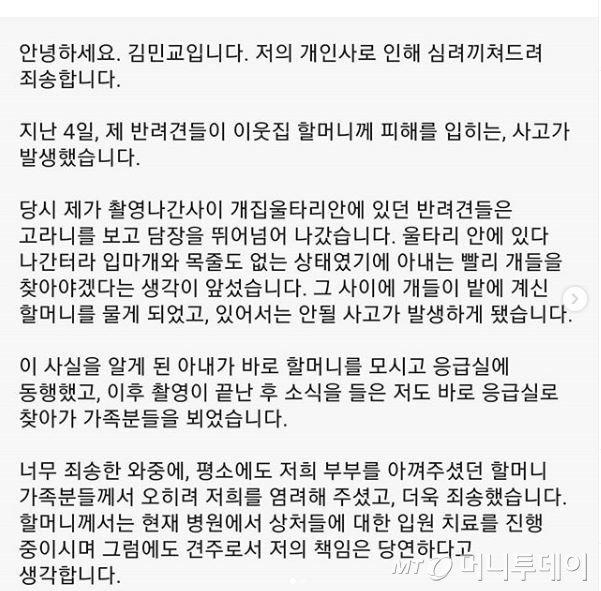 과거 사고 당시 사과문/사진제공=김민교 인스타그램