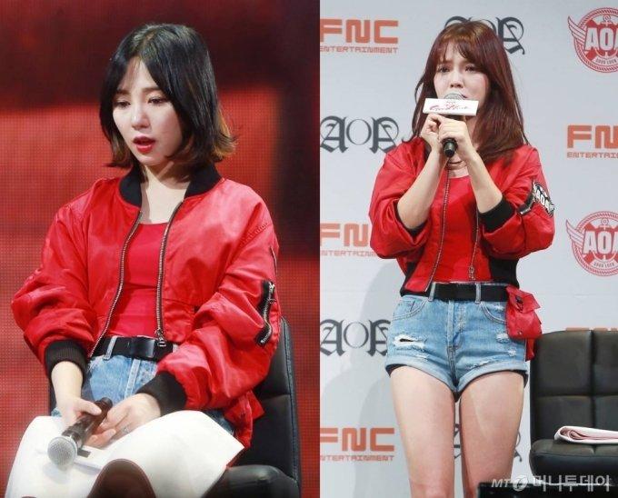 사진 왼쪽부터 그룹 AOA 출신 배우 권민아와 신지민./사진=김창현 기자
