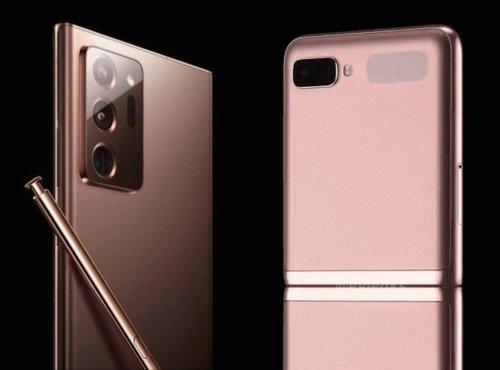 삼성전자 하반기 플래그십 '갤럭시노트20' 추정 제품 모습(왼쪽)과 폴더블폰 '갤럭시Z 플립 5G' 모습. /사진=이샨아가왈, 에반블레스 트위터