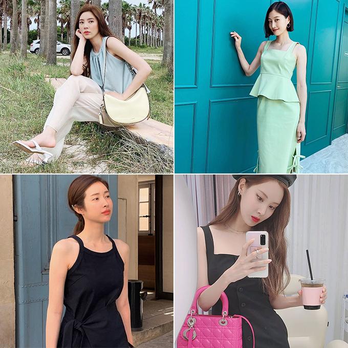 (왼쪽부터 시계 방향으로) 가수 겸 배우 손담비, 모델 이현이, 가수 겸 배우 서현, 배우 차정원/사진=각 스타 인스타그램