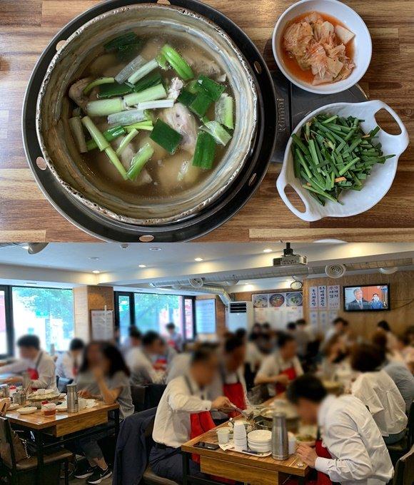 비건 부장관이 방한 때마다 먹는 닭한마리. 사진은 2인분. 점심시간이 되자 이 식당은 손님들로 가득 찼다./사진=김지성 기자