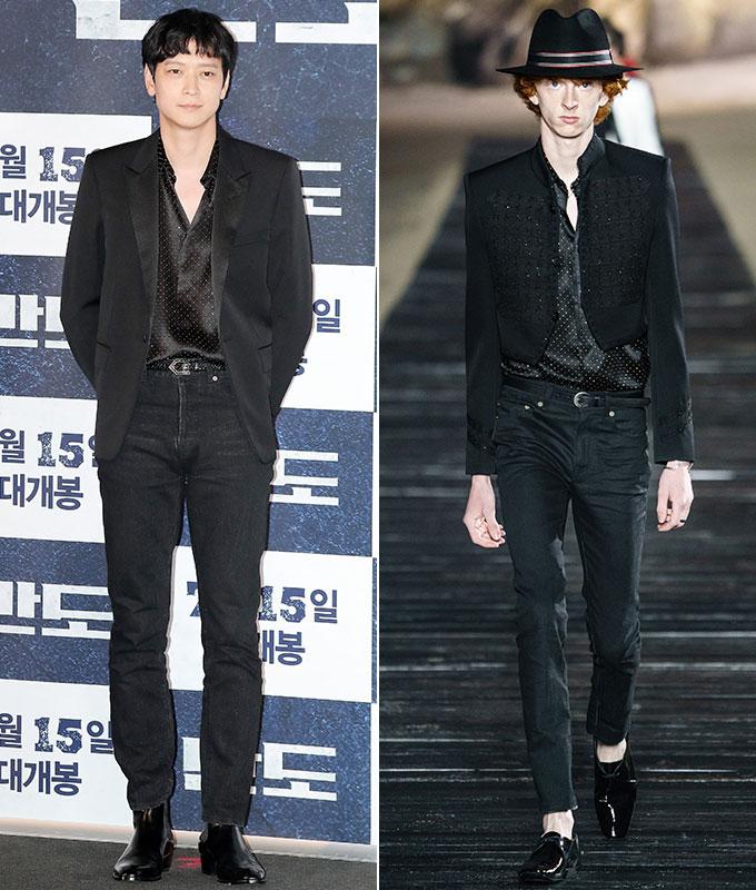 배우 강동원, 생로랑 2020 S/S 남성복 컬렉션/사진=김창현 기자, 생로랑