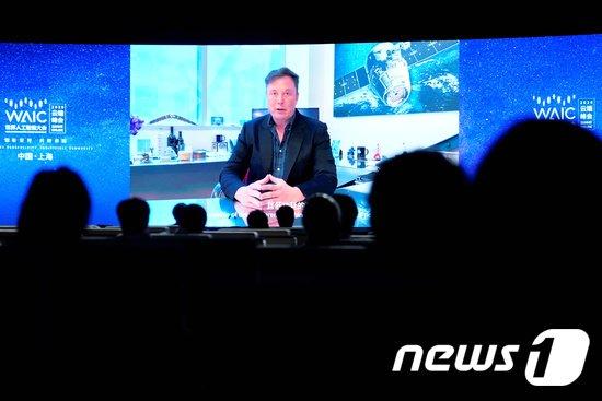 상하이에서 온라인을 통해 개막한 세계인공지능회의(WAIC) 개막식에서 메시지를보내는 일론 머스크 테슬라 최고경영자(CEO). © 로이터=뉴스1