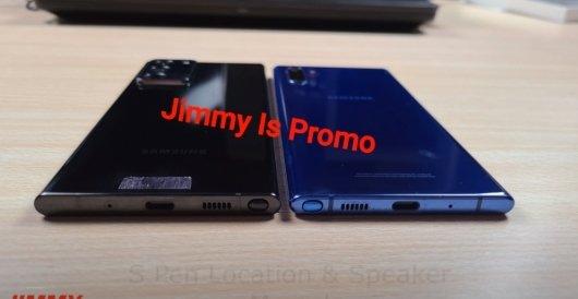지미이즈프로모 유튜브 채널에 올라온 갤럭시노트20 울트라(왼쪽)와 갤럭시노트10 플러스 비교 영상 캡처