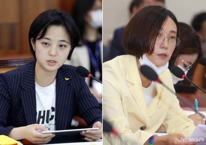 류호정(왼쪽)·장혜영 정의당 의원. / 사진제공=뉴시스