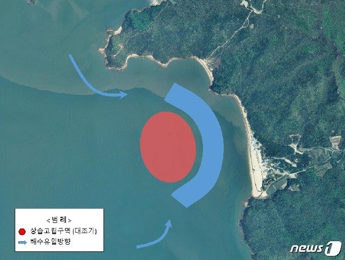 하나개해수욕장 상습고립 발생 개요(중부해경청 제공)© 뉴스1