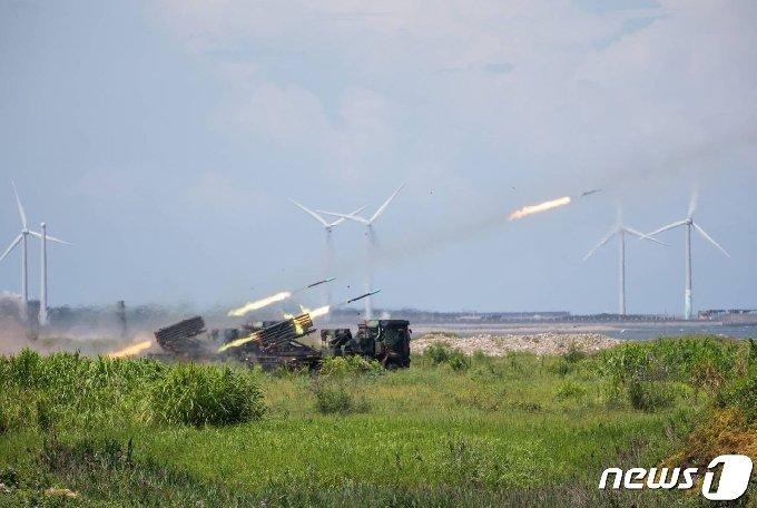 대만 군이 타이중에서 진행한 훈련 모습.© AFP=뉴스1