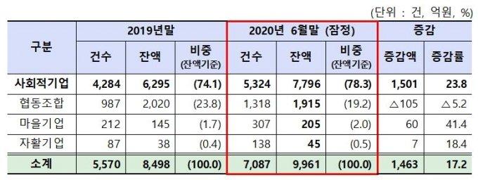 2020년 상반기 은행권 사회적경제기업 지원 실적(잠정) / 자료제공=금융위