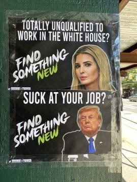 '새로운 길을 찾아라' 문구로 이방카 트럼프 고문과 트럼프 대통령을 비판하는 사진 - SNS 갈무리