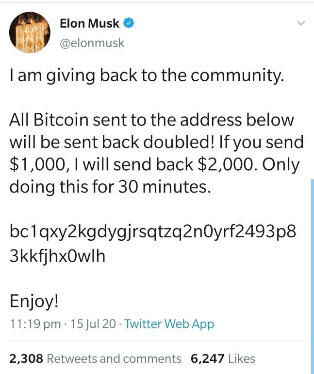 일론 머스크 테슬라 CEO의 트위터 계정이 해킹 당한 모습. /사진=트위커 캡처.
