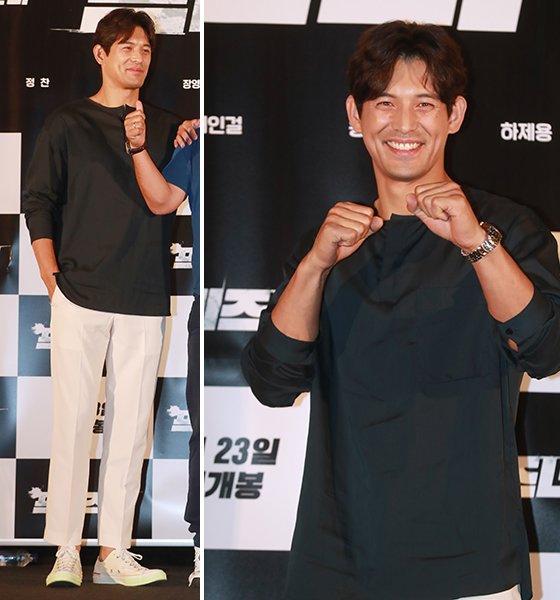 16일 오후 서울 CGV 용산아이파크몰에서 진행된 영화 프리즈너 시사회에서 배우 오지호가 포즈를 취하고 있다. /사진=이동훈 기자