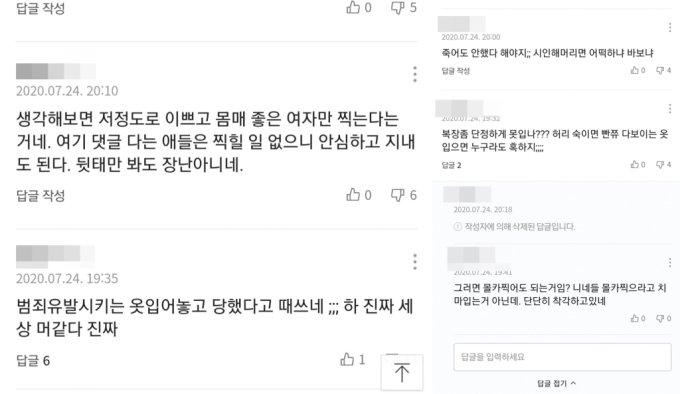 김씨가 공개한 피해자의 복장을 문제 삼아 비판하는 댓글./사진=BJ김옥분 아프리카TV 채널 캡처