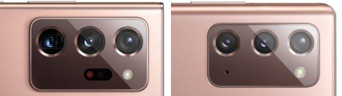 갤럭시노트20 울트라 후면 카메라(왼쪽)와 갤럭시노트20 후면 카메라. /사진=윈퓨처