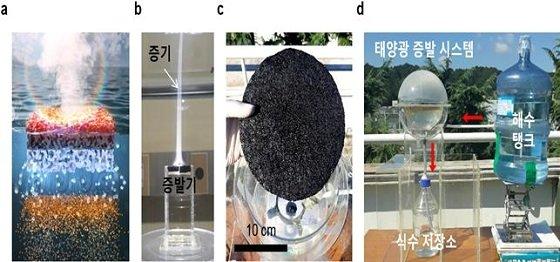 그림) 태양광 기반의 광열증발기를 이용한 해수담수화 시스템(좌측에서부터 첫 번째) 광열 증발기는 태양광을 조사하면 광열반응을 통해 해수를 빠르게 증발시켜 식수를 생산해낸다. (좌측에서부터 두 번째) 개발된 증발기는 태양광 조사 시 99%의 매우 높은 증발효율로 많은 양의 증기를 생산한다. (좌측에서부터 세 번째, 네 번째) 태양광 기반 해수담수화 시스템을 제작하여 건물 옥상에 설치한 결과, 3개월간 증발기 면적 1m2 당 25~30 리터의 식수를 안정적으로 생산하였다/사진=포항공대