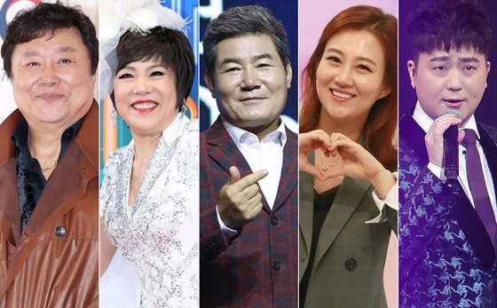 왼쪽부터 가수 남진, 김연자, 진성, 장윤정, 박현빈 /사진=머니투데이DB, 뉴스1