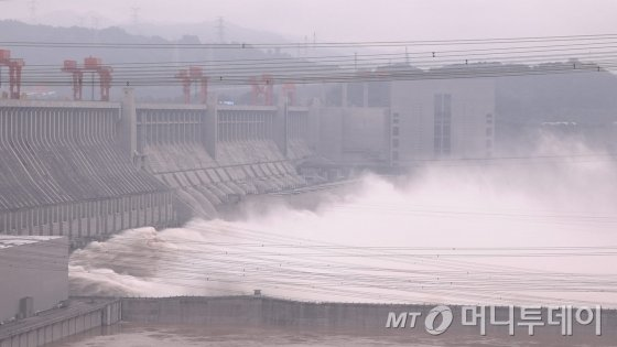 세계 최대댐 싼샤댐 2020년 7월하순 모습/사진제공=독자제공
