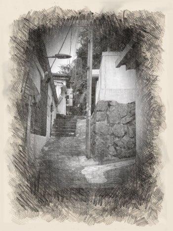겉으로 봐선 절대 드러나지 않는다. 이 골목길에, 그중 어느 집에, 어떤 힘듦이 숨어 있는지. 그 사각지대를 찾아달라고, 누군가는 애달프게 외치고 있었다./사진=남형도 기자, My sketch 앱으로 스케치.