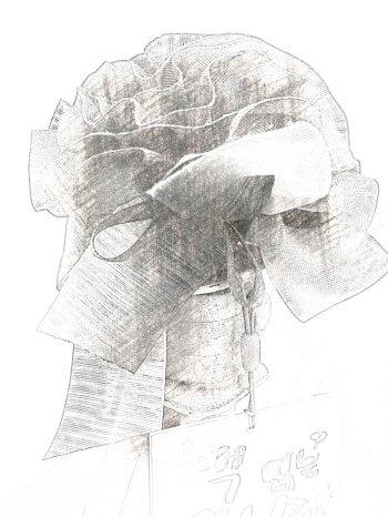 어버이날에, 아이가 엄마에게 건넨 카네이션. 엄마의 재단 작업실에 고이 걸려 있었다./사진=남형도 기자, My sketch 앱으로 스케치.
