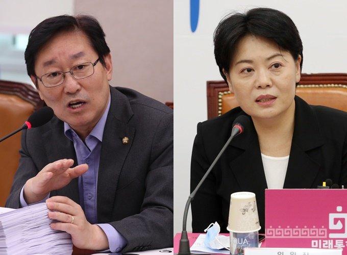 박범계 더불어민주당 의원(왼쪽)과 윤희숙 미래통합당 의원/사진=뉴스1