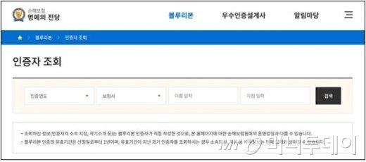 블루리본 인증자 조회 화면/제공=손보협회
