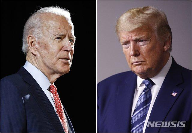[AP/뉴시스] 올해 미국 대선에서 맞붙을 조 바이든 전 부통령(왼쪽)이 지난 3월12일 델라웨어 윌밍턴에서, 도널드 트럼프 대통령(오른쪽)이 지난달 5일 워싱턴DC 백악관에서 각각 연설하고 있다. 2020.5.14.