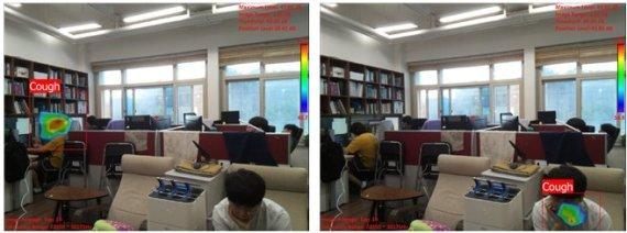 한국과학기술원 기계공학과 박용화 교수팀과 에스엠 인스트루먼트가 공동으로 개발한 기침 인식 카메라가 연구실 환경에서 기침 발생 위치를 표시하고 있다/사진=KAIST