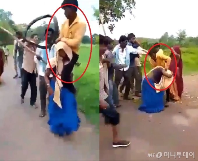 인도에서 한 여성이 남편을 어깨에 올리고 걸어가면서 마을 사람들에게 폭행을 당하는 모습. /사진=트위터 Vaibhav Palnitkar