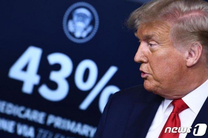 도널드 트럼프 미국 대통령이 3일(현지시간) 워싱턴 백악관 브래디룸에서 브리핑을 하고 있다. /사진=뉴스1