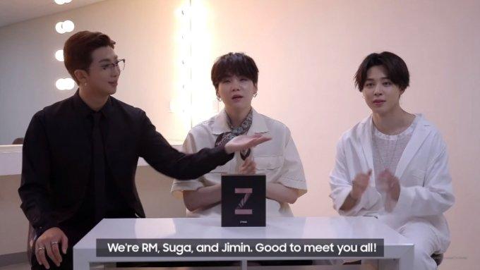 폴더블폰 갤럭시Z 폴드2를 소개하는 방탄소년단(BTS)