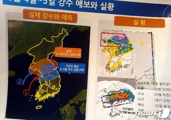 8월 4~5일 강수 예보와 실황(기상청 제공) © 뉴스1 황덕현 기자