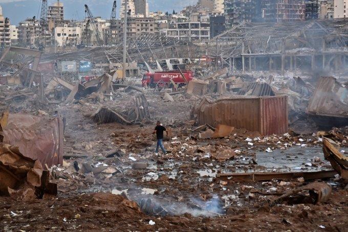 폭발사고가 발생한 레바논 베이루트 항만./사진=AFP
